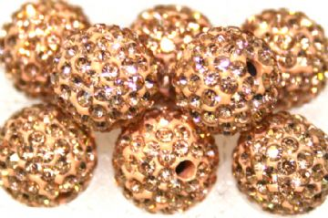 10mm Peach 115 Stone  Pave Crystal Beads- Half Drilled PCBHD10-115-020
